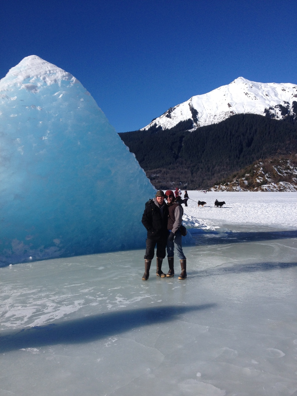 Samantha and Jesse on Mendenhall lake in Juneau Alaska.  Awaiting the 2014 thaw