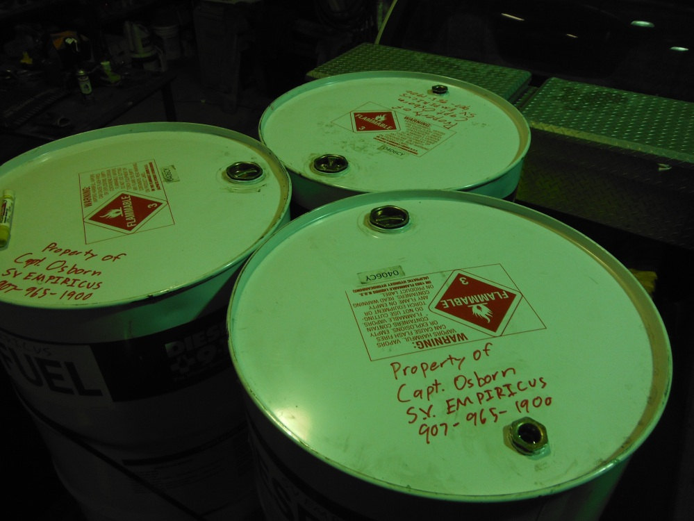 The drums had fuel treatment residual in them.  Perfect for staging near the water.  They were inspected, labeled and banded with steel strap.