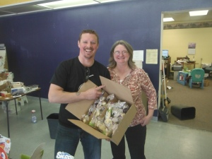 Fellow sailor Sherry Allen donated a box of solid chocolate bunnies for reserve sweets onboard.