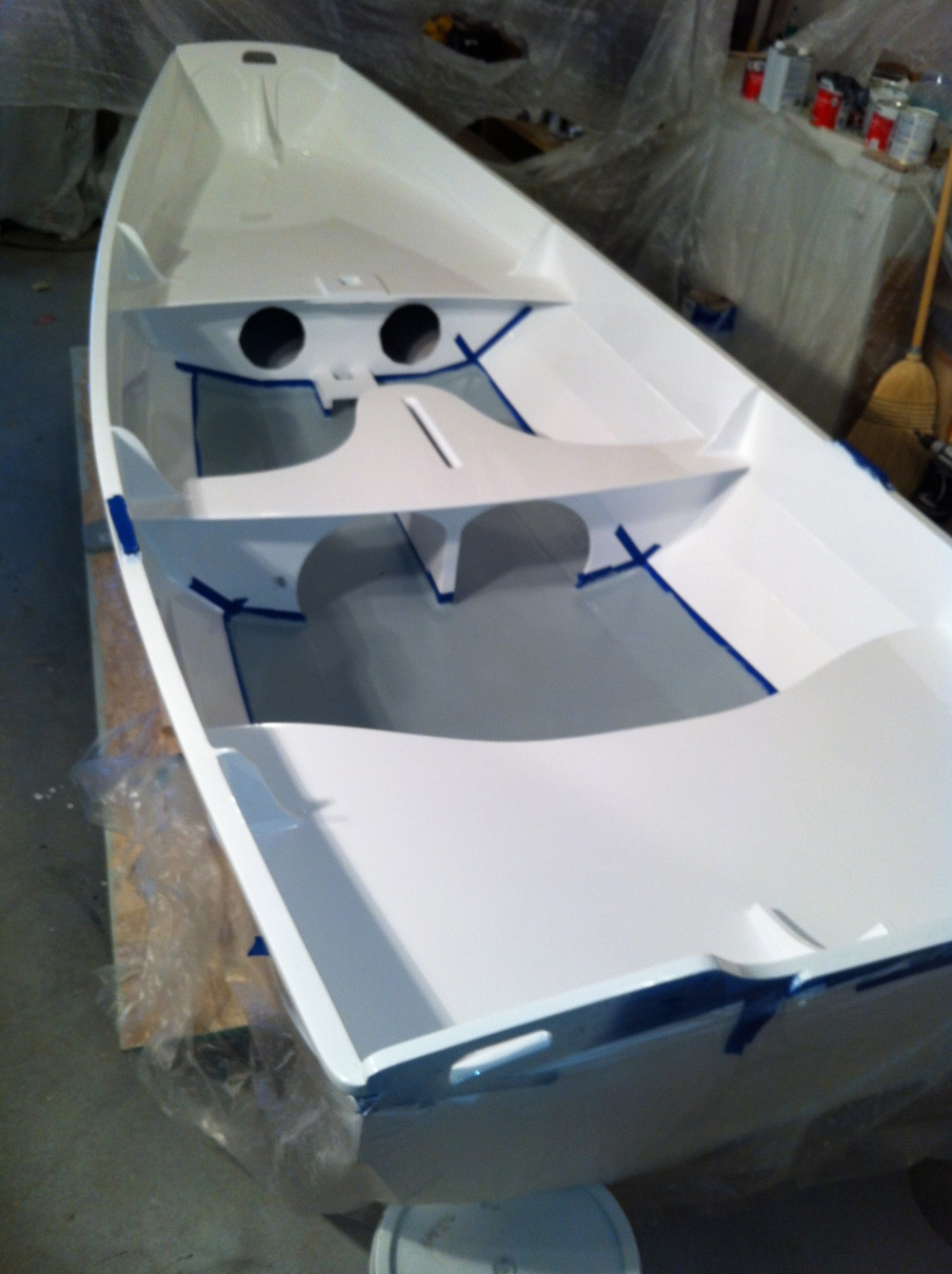 Dan has painted a grey bilge with adhesive additives.  These are nice final touches.