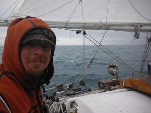 Sailing nicely with a reef in.  A full main in the arctic is a rare thing to carry.  Cold wind is powerful.  We had plenty and of wind for the passage.  with only one day of contrary wind the entire trip.