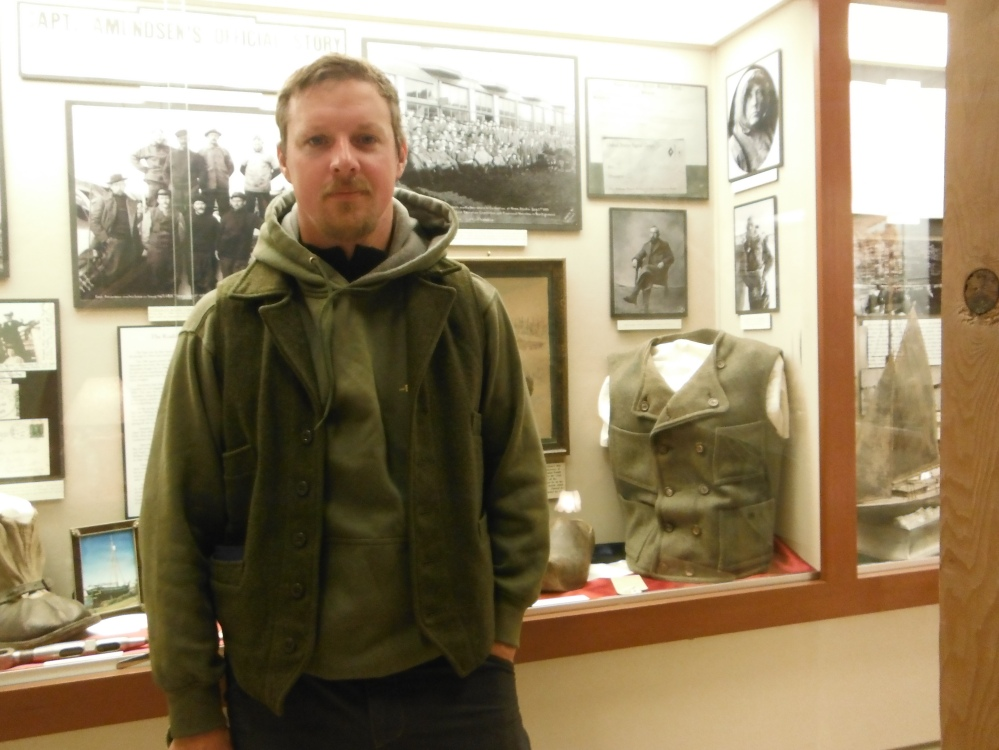 Amundsens display at the Nome Museum.  His crew had similar clothing tastes!