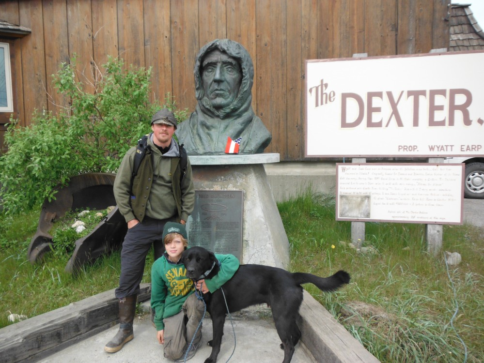 Stevo, Bruce and I in front of the Dexter site (Wyatt Erp's Saloon from 1903)  Behind us is Roald Amundsen's bust.  He was the man, who dominated polar exploration.  Humble, calculating and prepared like no other.  His methods have inspired my preparation immensely.