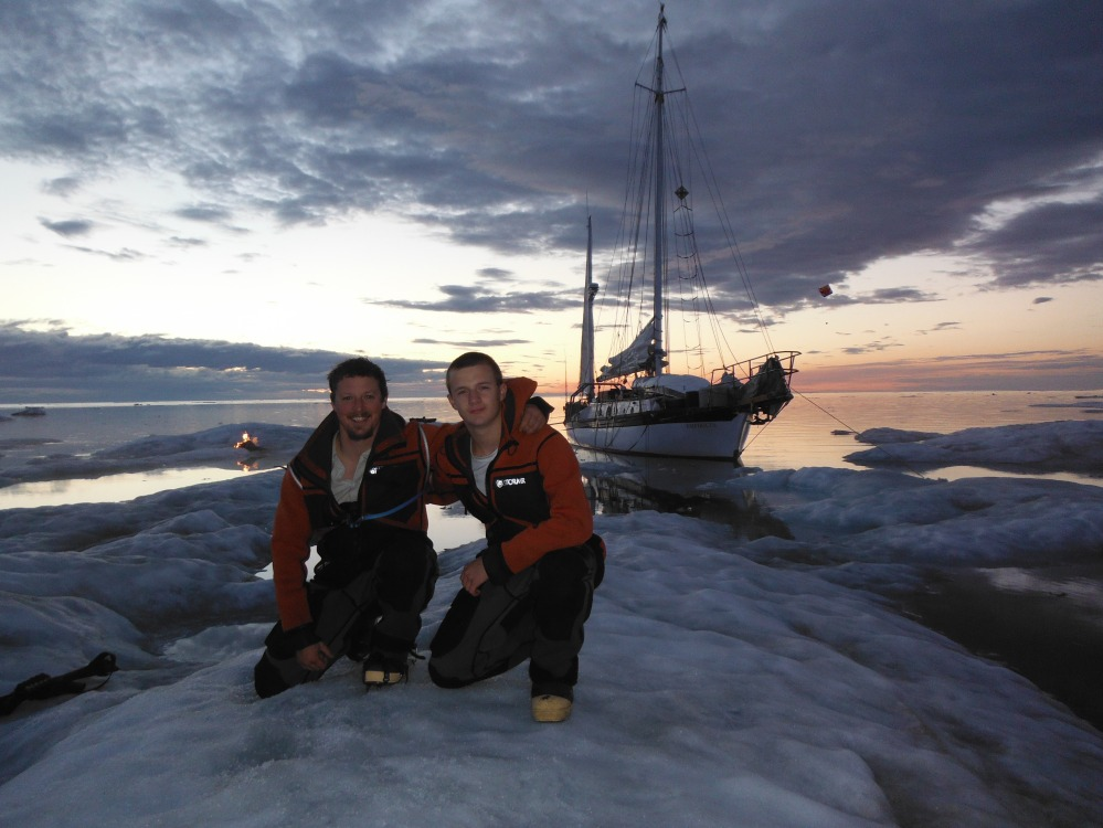 Jesse with his older son Isaac.  On an offshore ice flow in the Arctic. 2013