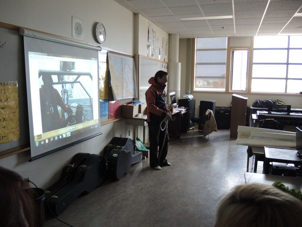 One of our presentations at the Cambridge Bay High School