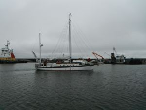 Empiricus leaving Nome Harbor for the Northwest Passage.  Photo courtesy of SV Dodo's delight