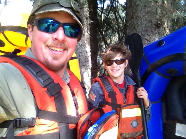 Jesse and his younger son Steven.  Packrafting in Alaska