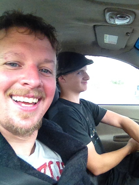 Isaac driving me to Anchorage.