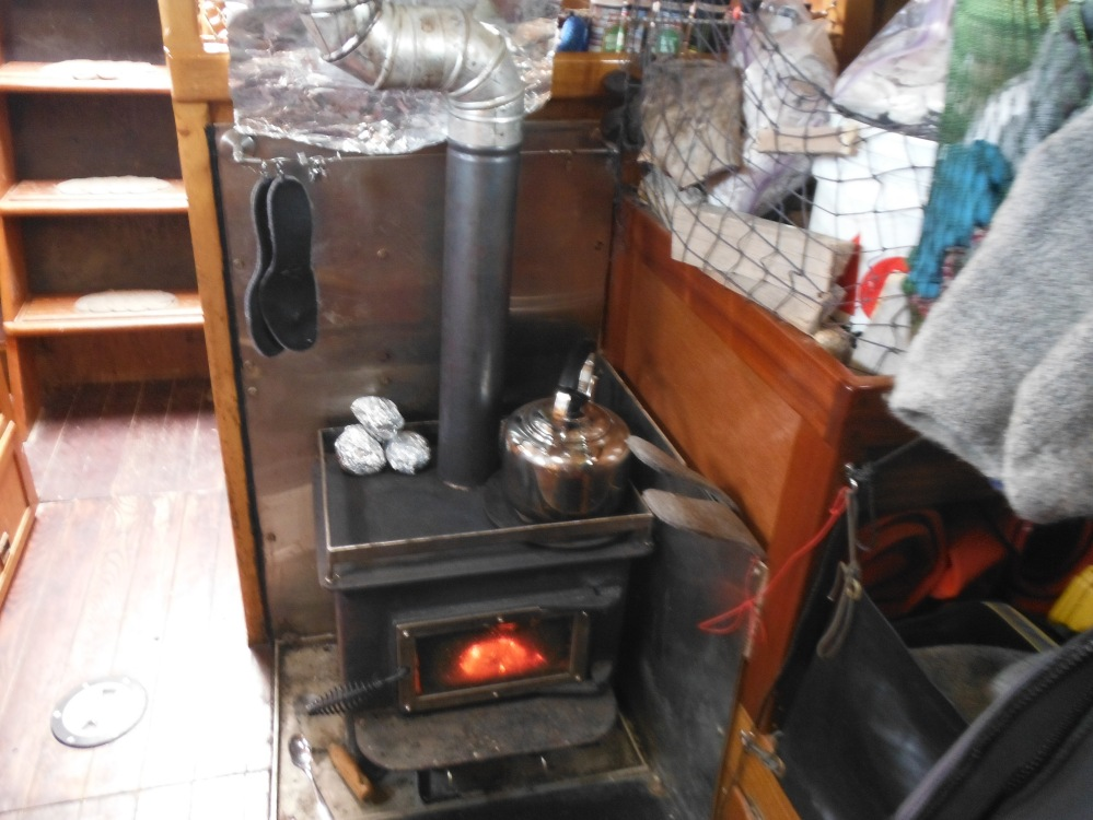 Baking potatoes on the wood stove