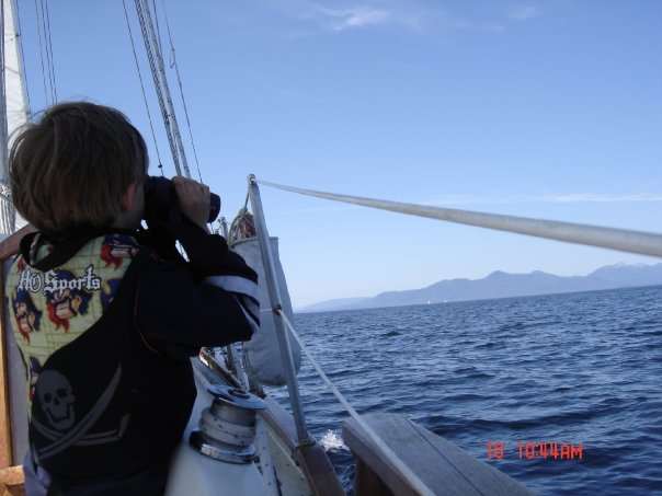 Steven spying the horizon.  Age 6