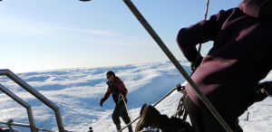 Mooring to a berg with ice screws