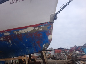 The bow after our voyage.  Note the jammed shackle.  But no ice damage.