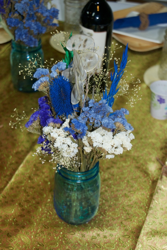 Dried flowers in Blue Jars.  Perfect.