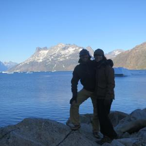 Samantha and I in Prins Christian Sound Greenland 2014